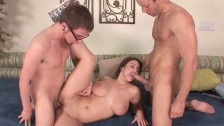 Teen with big natural tits fucked by two guys