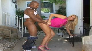 Tall and sexy blonde fucked by a black guy