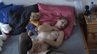 Masturbation with her soft toy!
