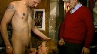 A whore fucked in a sexshop