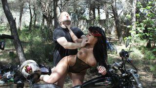 Wild sex on a motorbike with Jenny Hard!
