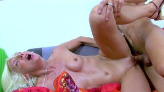 Old French lady loves when a young guy fucks her!