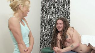 A customer charms and fucks the cute masseuse