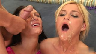 1 blond 1 brunette 2 cocks