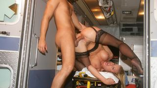 Call 911! Intense pleasure on the stretcher