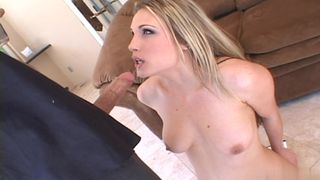 Cute blonde getting ass fucked by a dildo and a fat cock