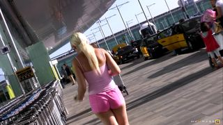Larry the Pervert discovers a sexy blonde at the airport