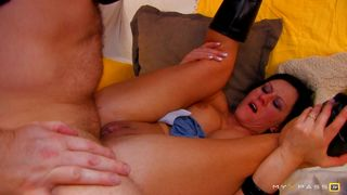 French milf gets fucked in DP by a cock and a huge dildo